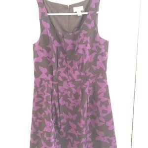 Loft purple bufferfly print dress